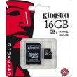 Карта памяти Kingston microSDHC 16 Gb UHS-I+adapter U1 (R45, W10MB/s)