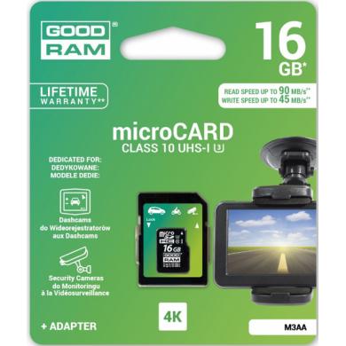 Карта памяти GOODRAM microSDHC 16GB UHS I MLC U3 + ad (R90, W45MB/s)