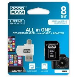 Карта памяти GOODRAM microSDHC 8GB Class 4 All in One + card reader