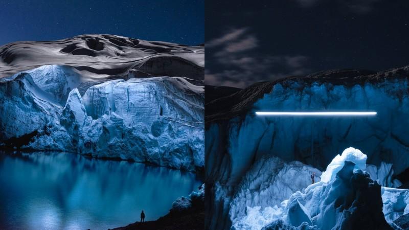 Фотографии ледников, освещенных с помощью квадрокоптера