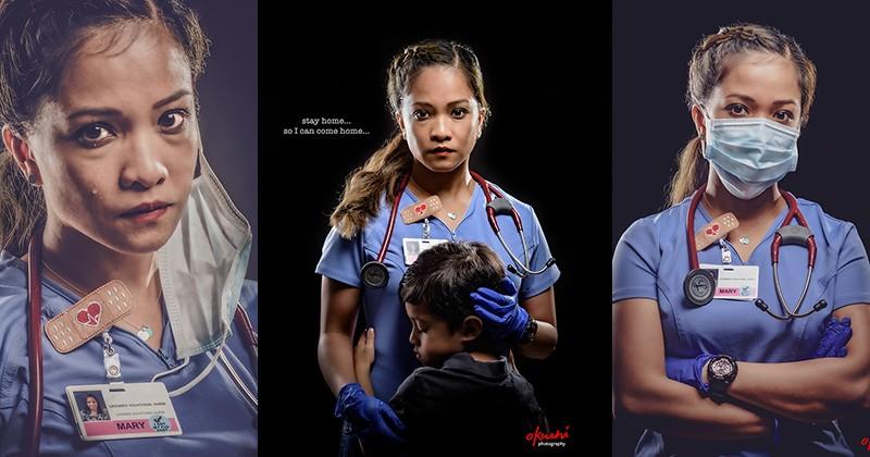Фотограф снял эмоциональный портрет своей жены медика с призывом «Оставайтесь дома»