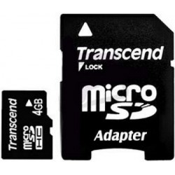 Карта памяти Transcend microSDHC 4 GB Class 4 (+ SD адаптер)