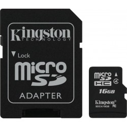 Карта памяти Kingston microSD 16 GB Class 4 + SD адаптер