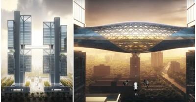 Новая штаб-квартира DJI с мостом для демонстрации новых мультикоптеров